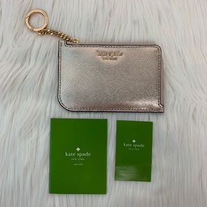 NWT KATE SPADE L-Zip Card Holder Metallic Wallet